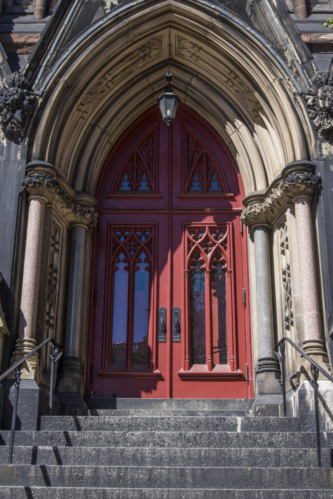 church exterior red door
