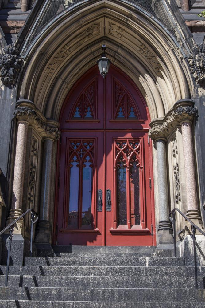 church exterior red door