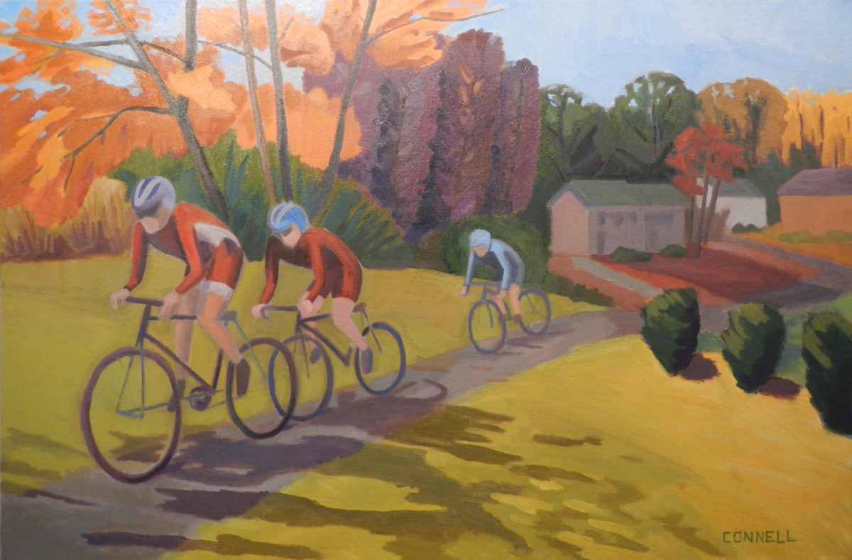 """Bicycle Ride Maryland"" by Ruth Connell. Oil on canvas, 24"" x 36"" 2015."