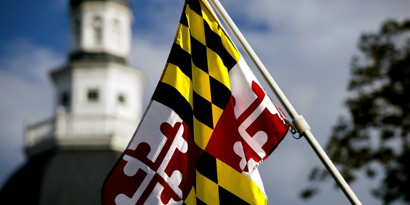 Maryland flag and state house